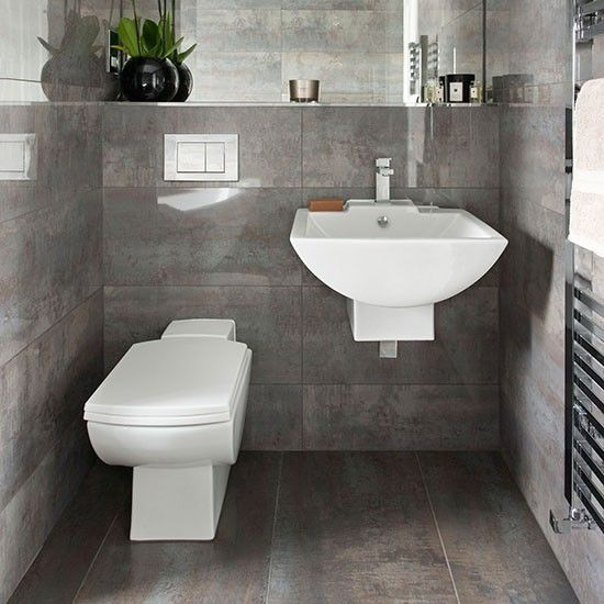 Dark Grey Tiled Bathroom Bathroom Decorating Ideal Home Grey