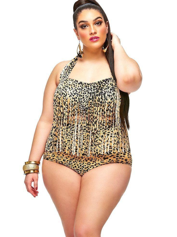 9d28a15bc0 New Fashion Plus size L-4XL print fringe high waist swimsuit Tassels  bathing suit swimwear push up bikini for big women