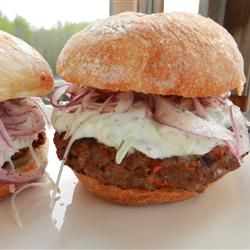 """Cyprus Gyro Burger- photo & review by Cyprus   """"Really great burgers. I used about 1½ cups of Greek yogurt and skipped the straining step. The urfa biber was wonderful; it has a smoky, almost chocolatey flavor. I didn't need a whole red onion; next time I'll just eyeball how much I think I'll need for four burgers. I will make these again!"""""""