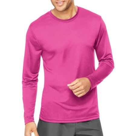 Hanes Sport Big Mens Cool DRI Performance Long Sleeve Tshirt (50+ UPF), Men's, Size: 2XL, Pink