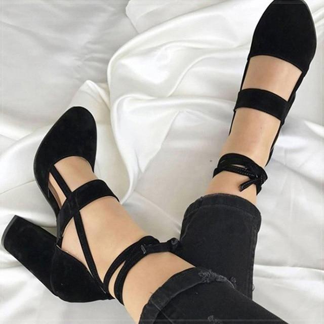 Women Pumps Plus Size 35-43 Women Heels Chaussures Femme Gladiator Summer High Heels For Party Wedding Shoes Women Thick Heels - Pu Black 10.5