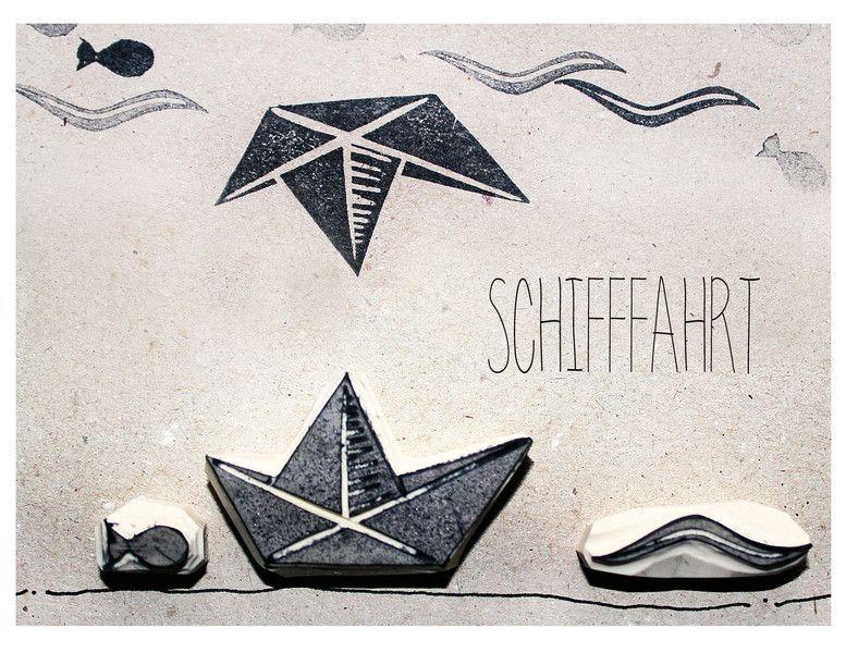 stempelset schifffahrt handgeschnitzt von halfbird auf stempel stamps. Black Bedroom Furniture Sets. Home Design Ideas