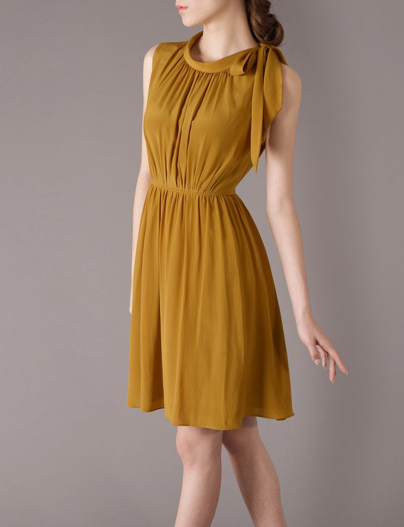 Yellow dress to wedding  Silk Dress Wedding Dress Vintage Style  Elegant Fashion  Pinterest