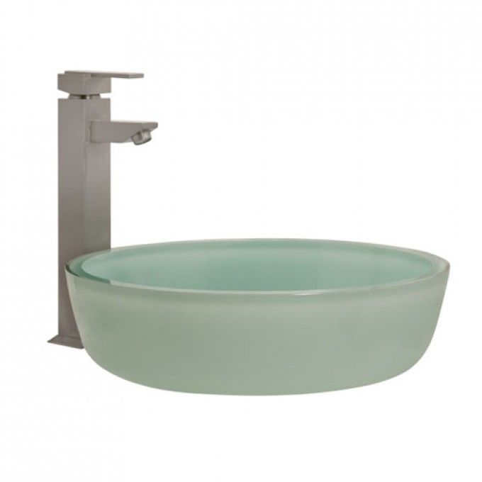 Tea Green Glass Flat Bottom Vessel Sink   Bathroom Sinks   Bathroom