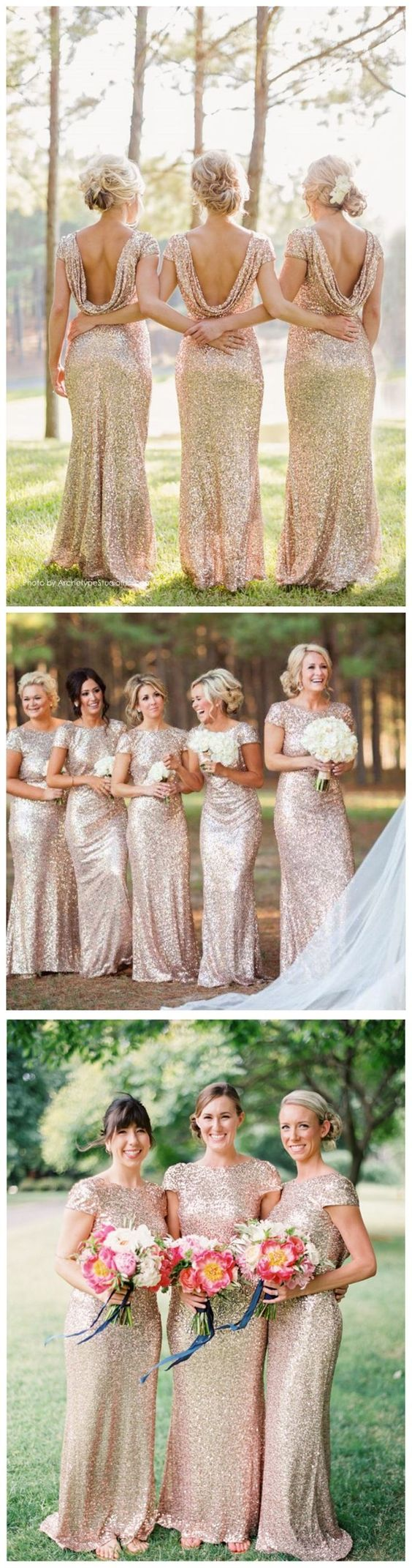 Glittery bridesmaid dresses with sparkly champagne sequins short