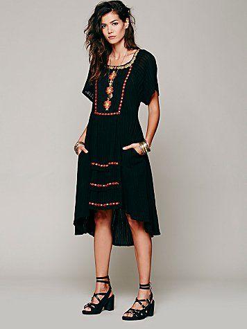 Free People Folk Embroidered Dress