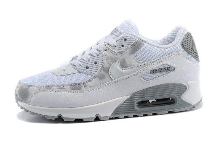 Nike Air Max 90 Print White Wolf Grey 724980-100 Womans ...