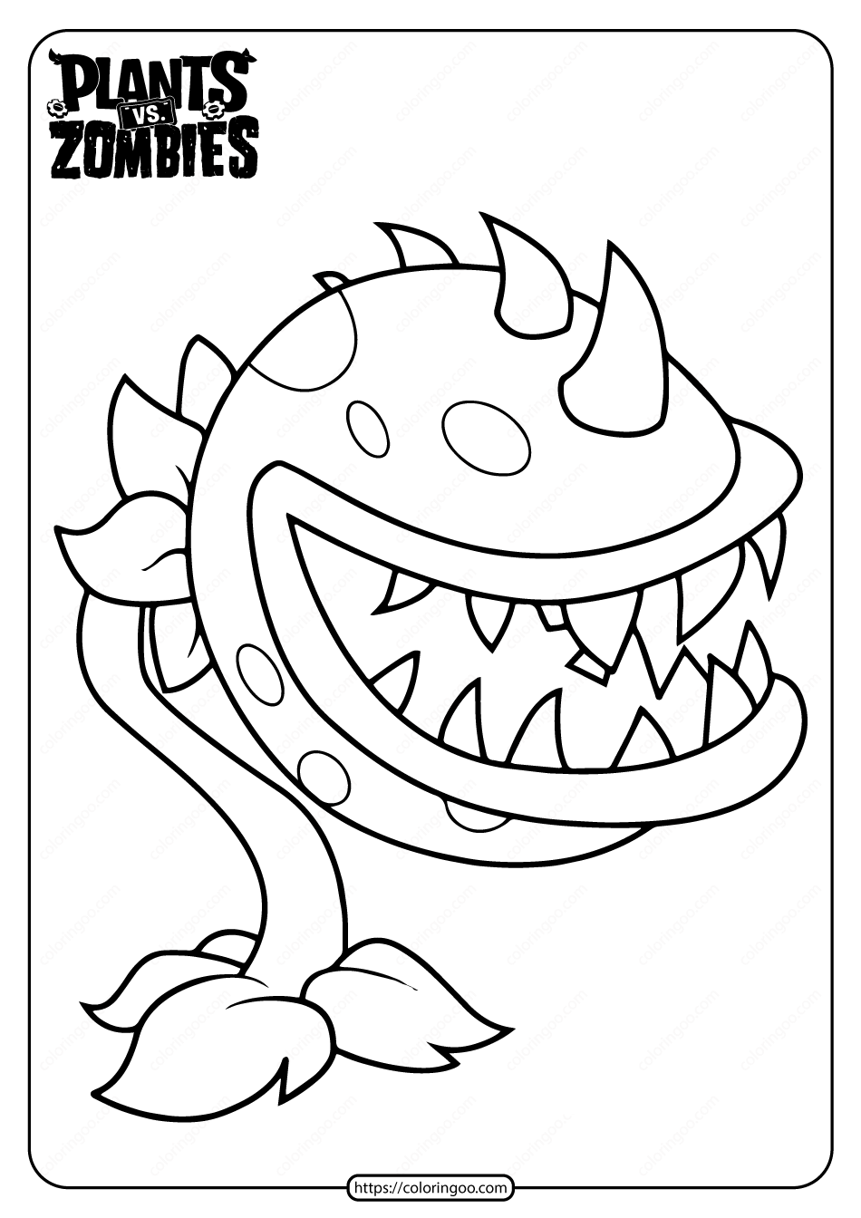 Plants Vs Zombies Chomper Pdf Coloring Page In 2020 Plants Vs Zombies Birthday Party Coloring Pages Plant Zombie