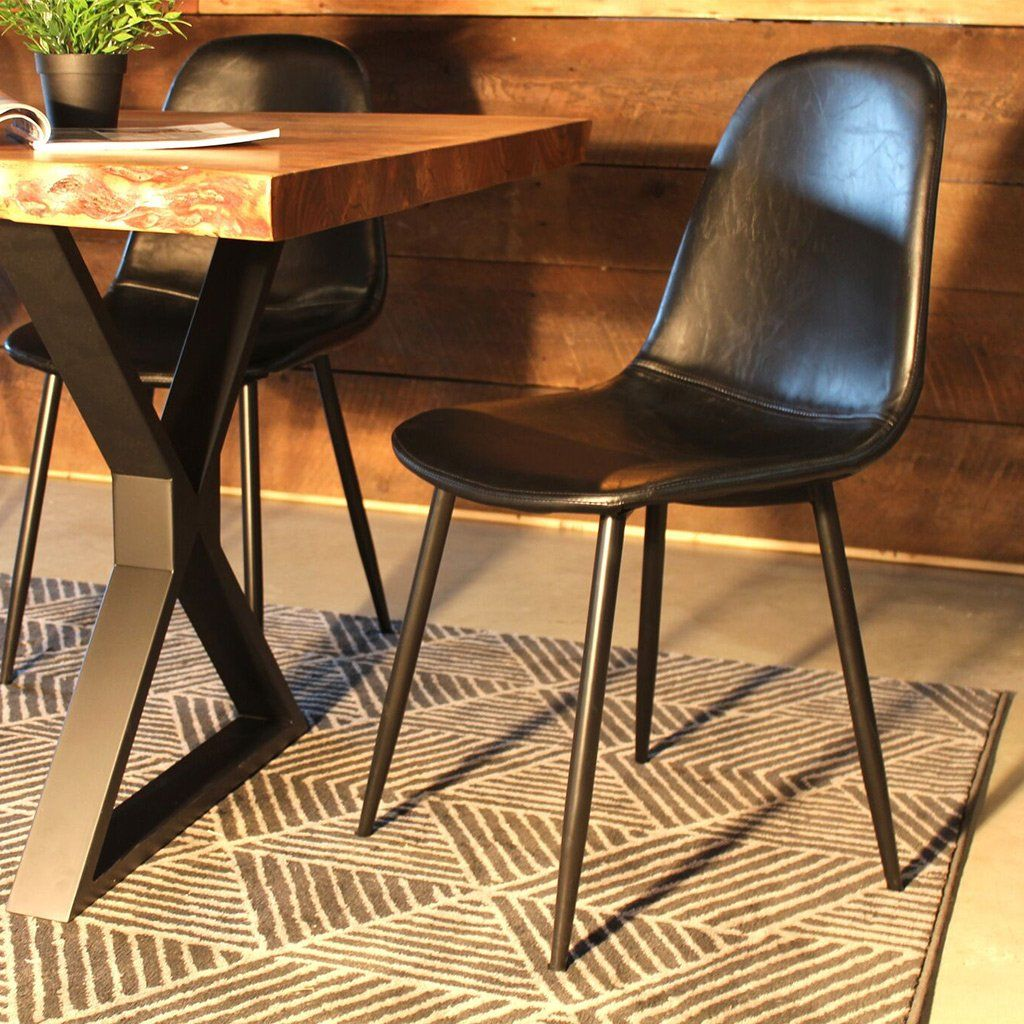 MILAN Eames Style Black Vintage Leather Dining Chair