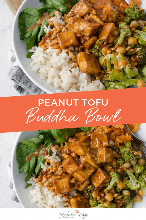 Peanut Tofu Buddha Bowl! A healthy meal, perfect for the New Year! Brown rice, tofu, roasted broccol...