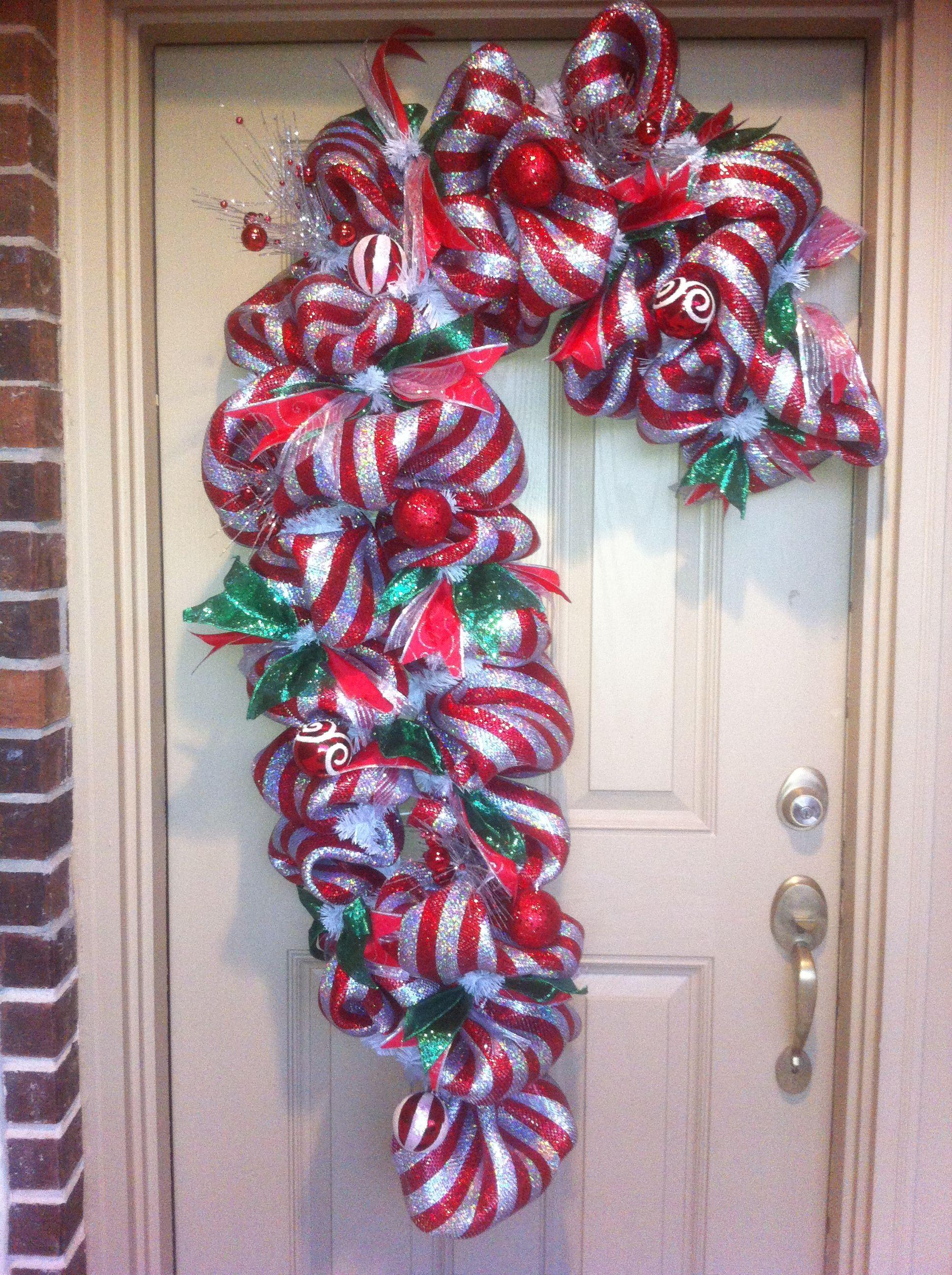Candy Cane Door Decoration. Deco mesh wreath   Wreaths ...