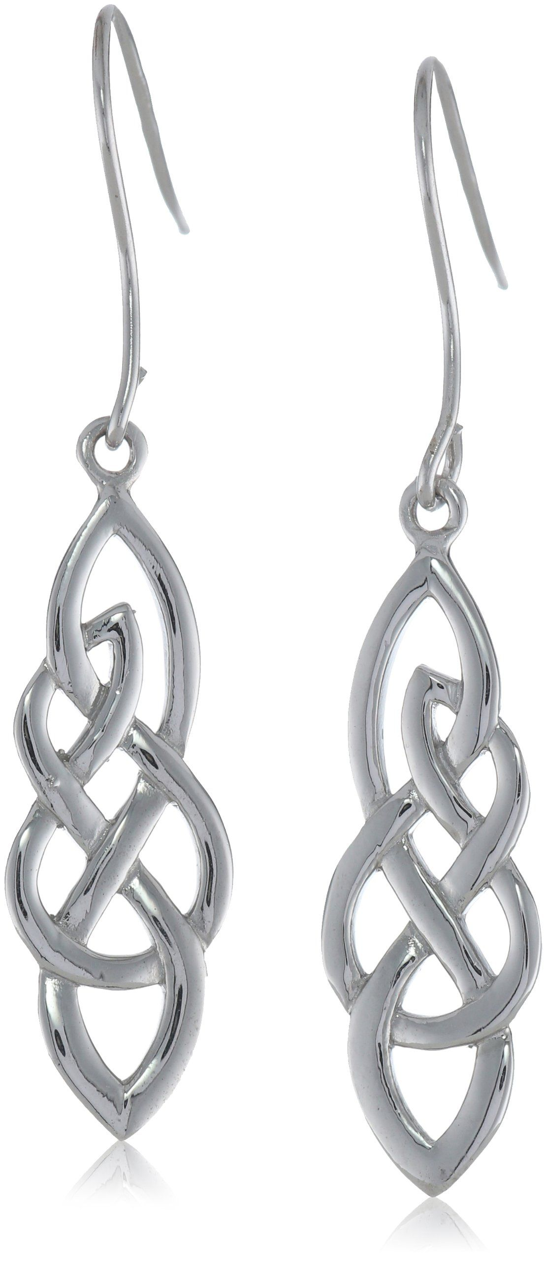 Sterling Silver Elongated Open Celtic Knot French Wire Earrings ...