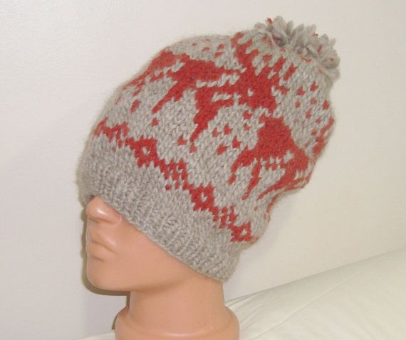 Reindeer Mens Winter Wool Hat Fair Isle Knit Men by earflaphats ...