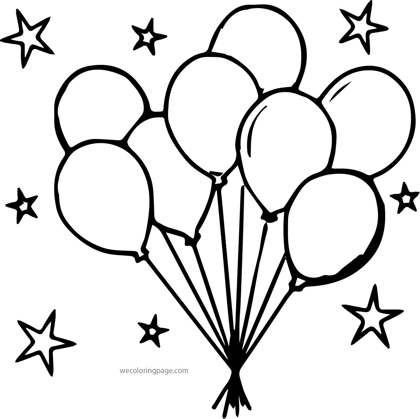 Nice Party Balloons Stars Coloring Page With Images Star