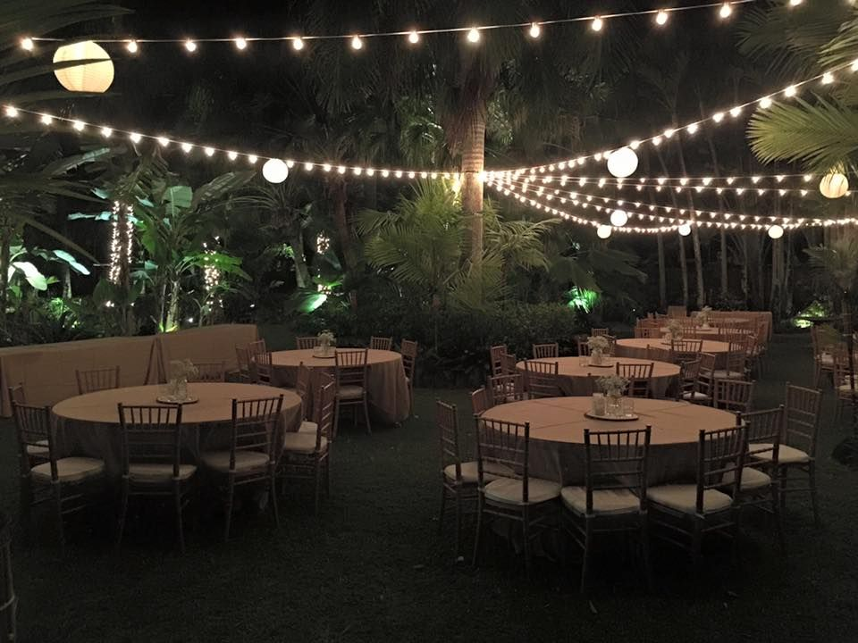 Dinner Reception At Night In Front Lawn
