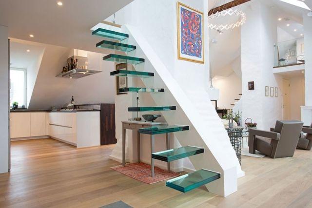 treppen typen design Kragarmtreppe Glas Treppenstufen Wohnung-Design ...