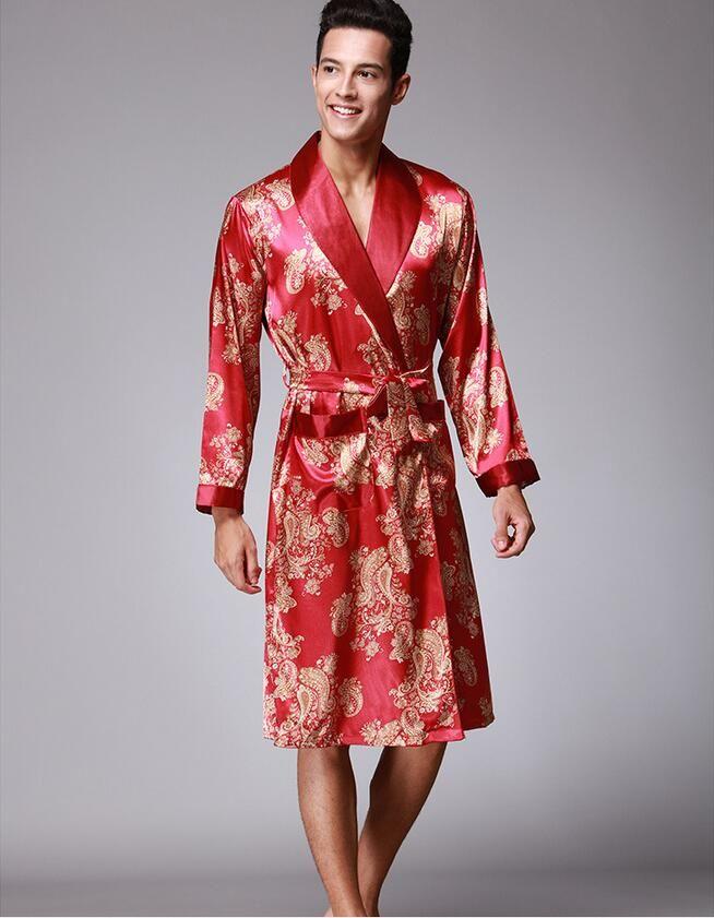 9df41d339a Elegant Soft Anti real silk Nightdress Robes men Spring Autumn Style  Nightdress Bath Robe Bathrobe Sleepwear Nightgowns WP182