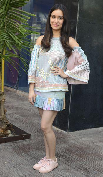 Shraddha Kapoor in a Pankaj & Nidhi dress and Zara sneakers
