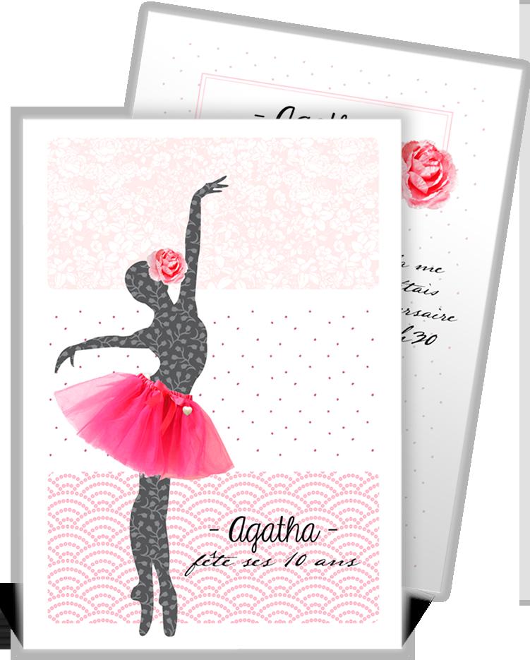 a9a06b7fec61c Invitation anniversaire artistique sur l univers de la ballerine pour votre  petite danseuse qui conviera toutes ses copines à venir danser avec elle