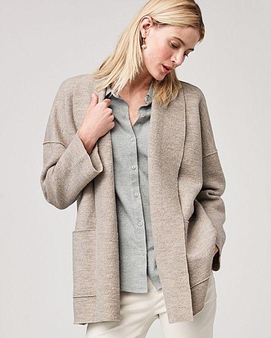 Eileen Fisher Wool Shawl-Collar Kimono Jacket in Maple Oat ...
