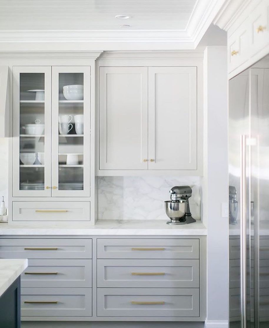 White Kitchen Cabinets With Gray Countertops: Gray Kitchen Cabinets With Gold Hardware And White