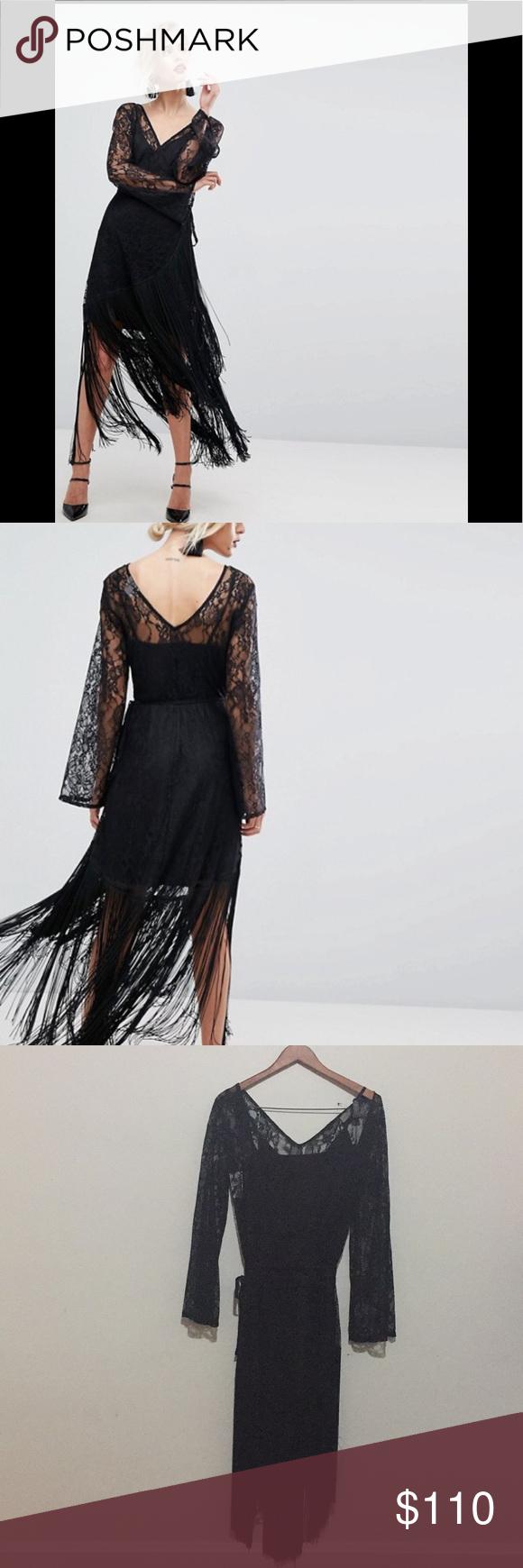 Asos lace deep plunge fringe wrap midi dress nwt my posh picks