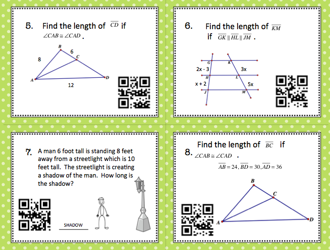 Geometry Similar Triangles/Proportionality Theorems Task Cards with ...