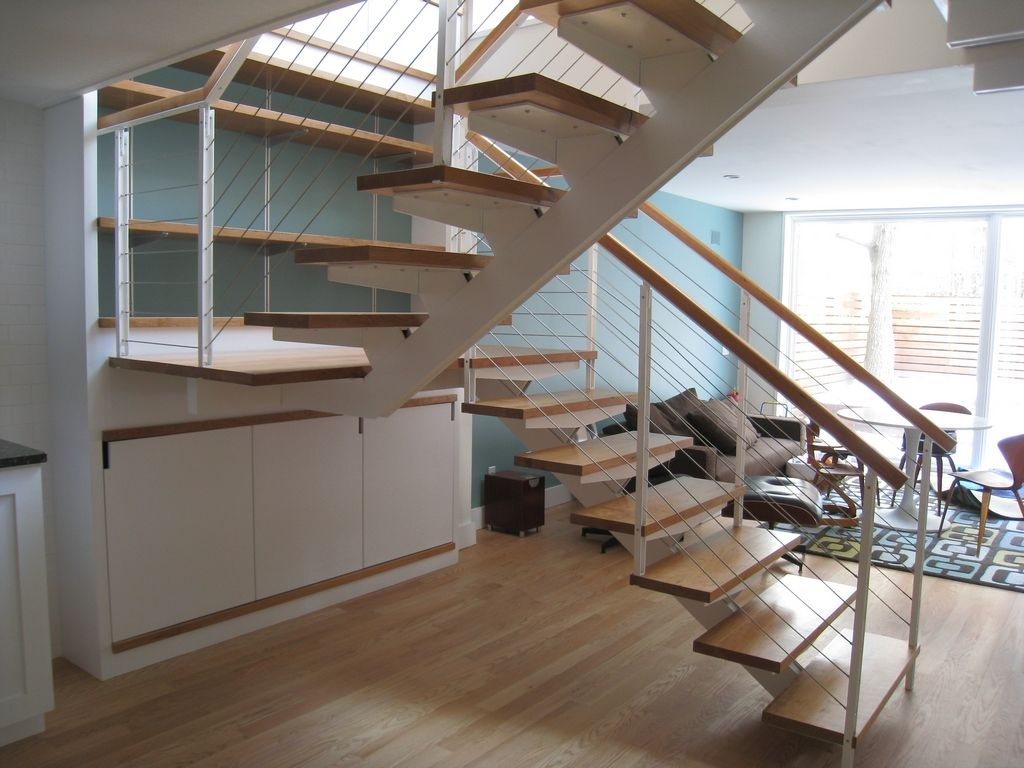 interior surprising half turn modern staircase including stainless