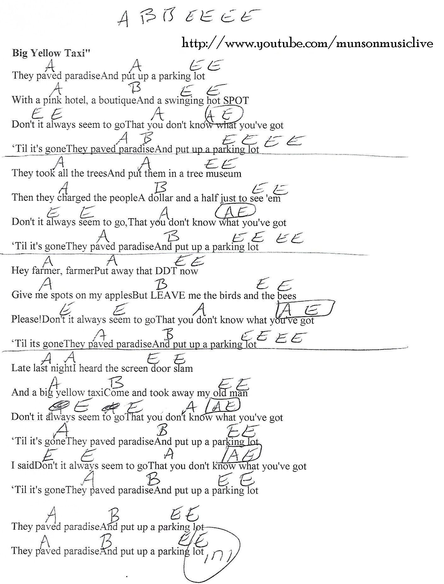 Big Yellow Taxi Joni Mitchell Guitar Chord Chart Sing A Song