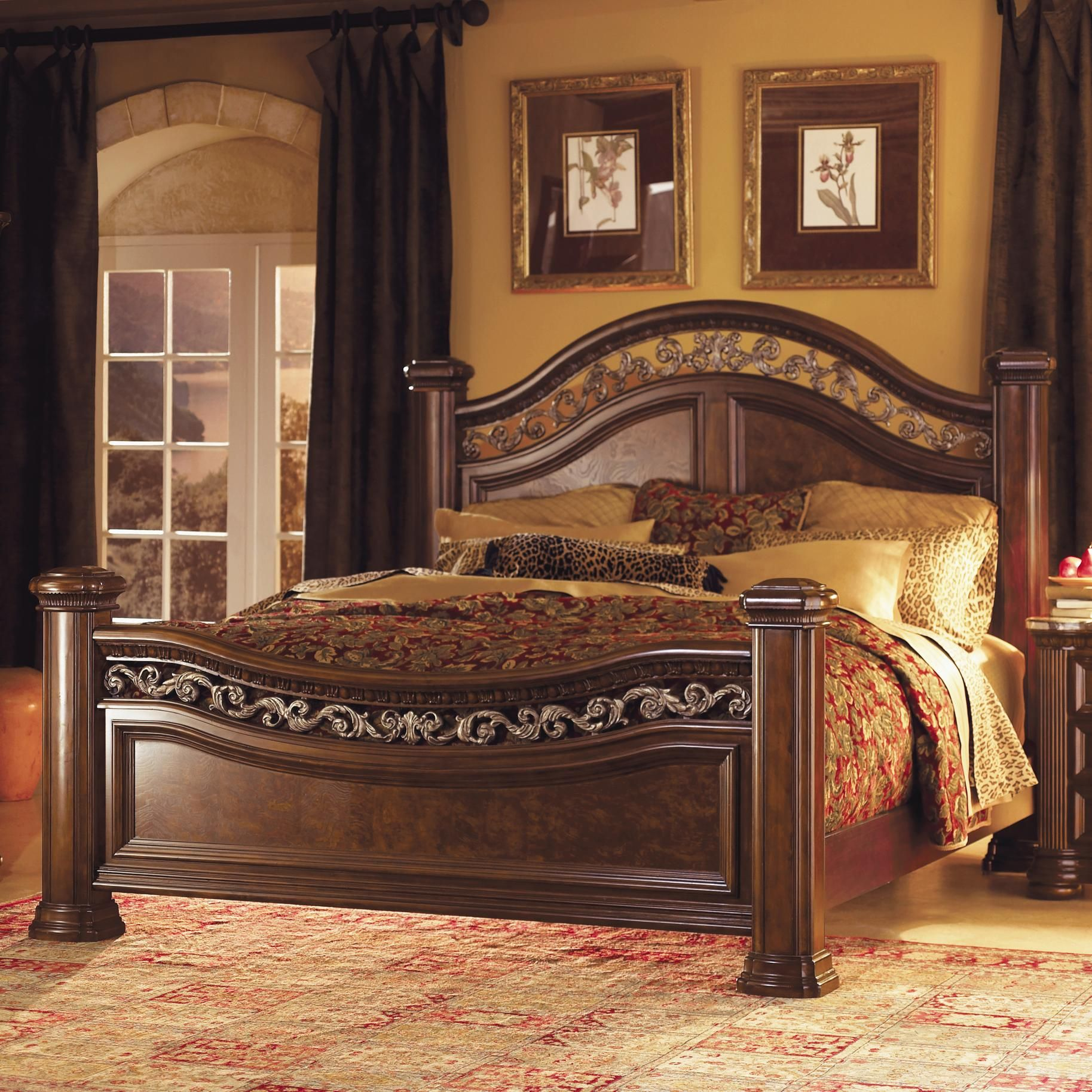 Granada california king mansion bed by flexsteel wynwood for Iron bedroom furniture