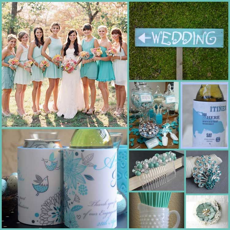 Wedding Color Themes And Ideas For Your Koozies White Mint Robin Egg Blue