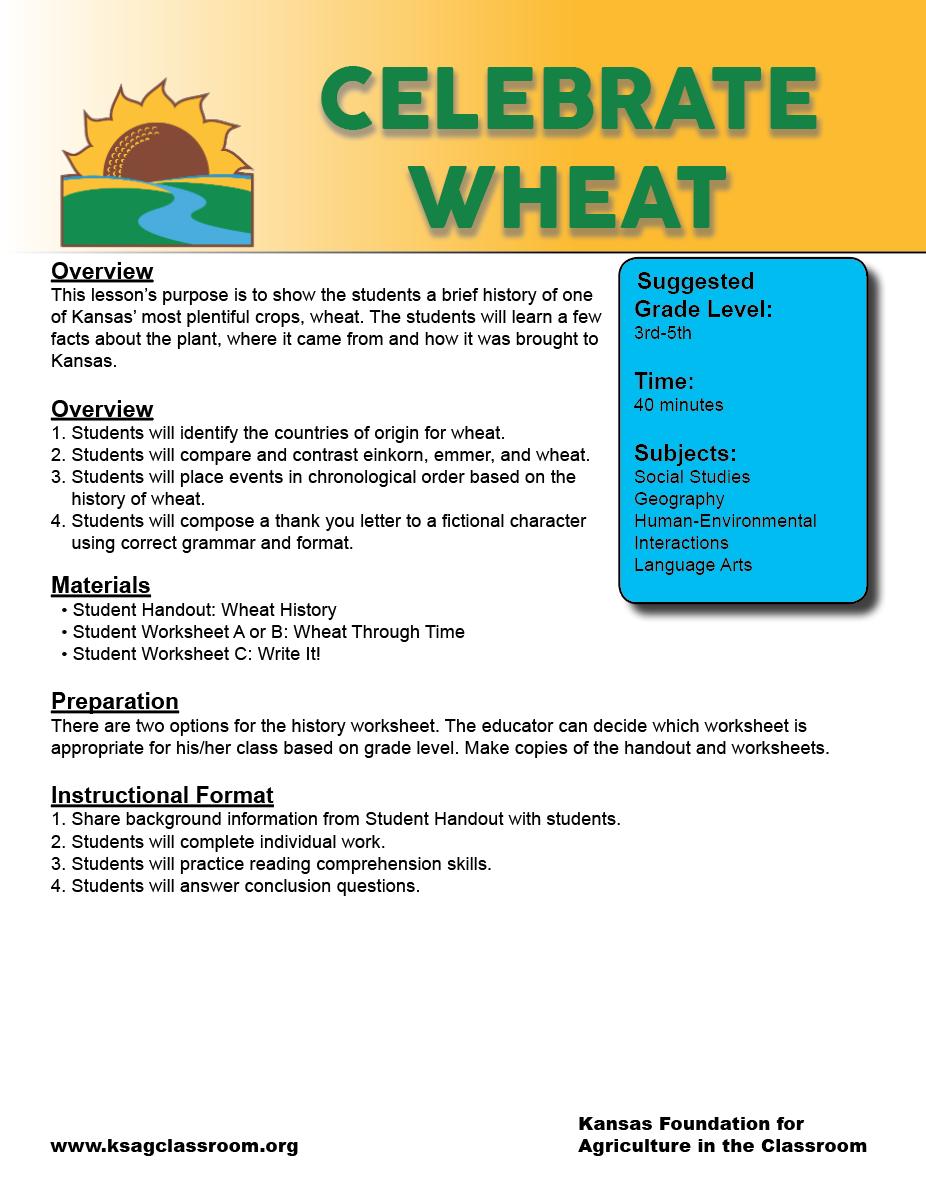 Celebrate Wheat Lesson Wheat Lesson Plans [ 1202 x 926 Pixel ]