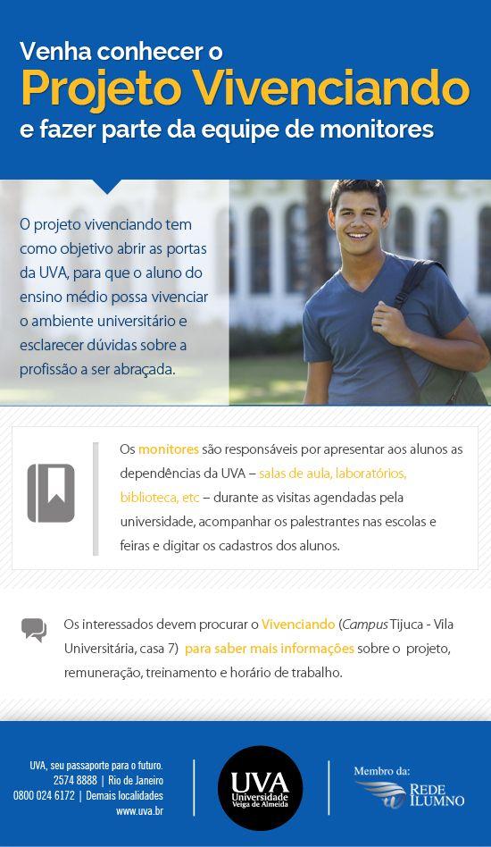 Divulgação para monitoria do Projeto Vivenciando.