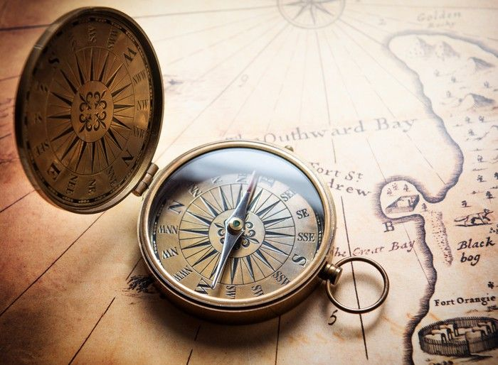 Old Compass On Vintage Map Retro Stale Wall Mural Pixers We Live To Change Vintage Compass Tattoo Vintage Compass Compass