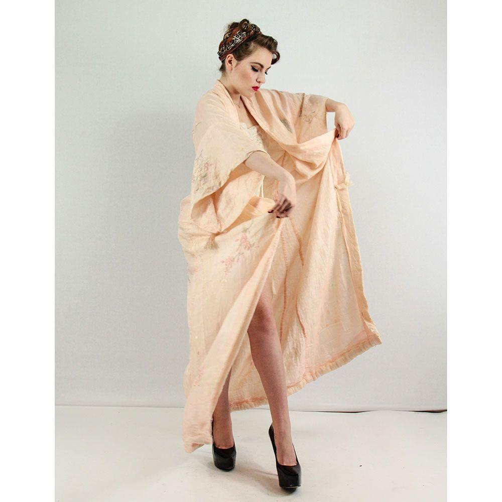 Vintage Kimono / Silk embroidered kimono / Edwardian 1920s silk robe / Butterflies and cherry blossoms by CarlaAndCarla on Etsy