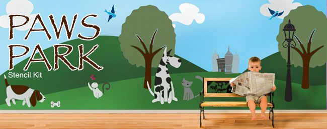 Cats U0026 Dogs Theme Wall Mural Stencil Kit By My Wonderful Walls Part 62