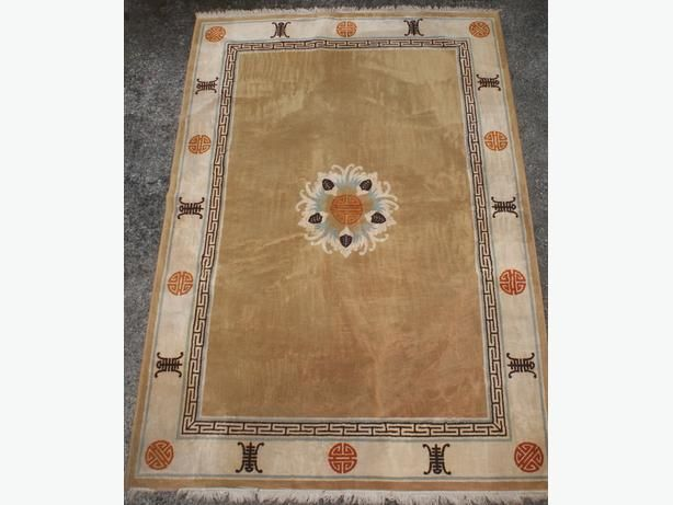 Clean Vintage Chinese hand-woven carpet REDUCED