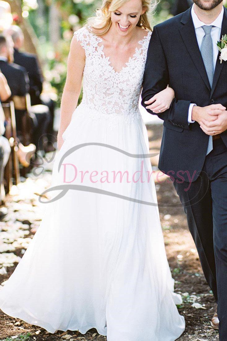 Princess aline v neck white long wedding dresses prom dresses