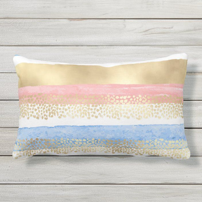 Artsy Girly Pink Gold Blue Abstract Stripes Lumbar Pillow