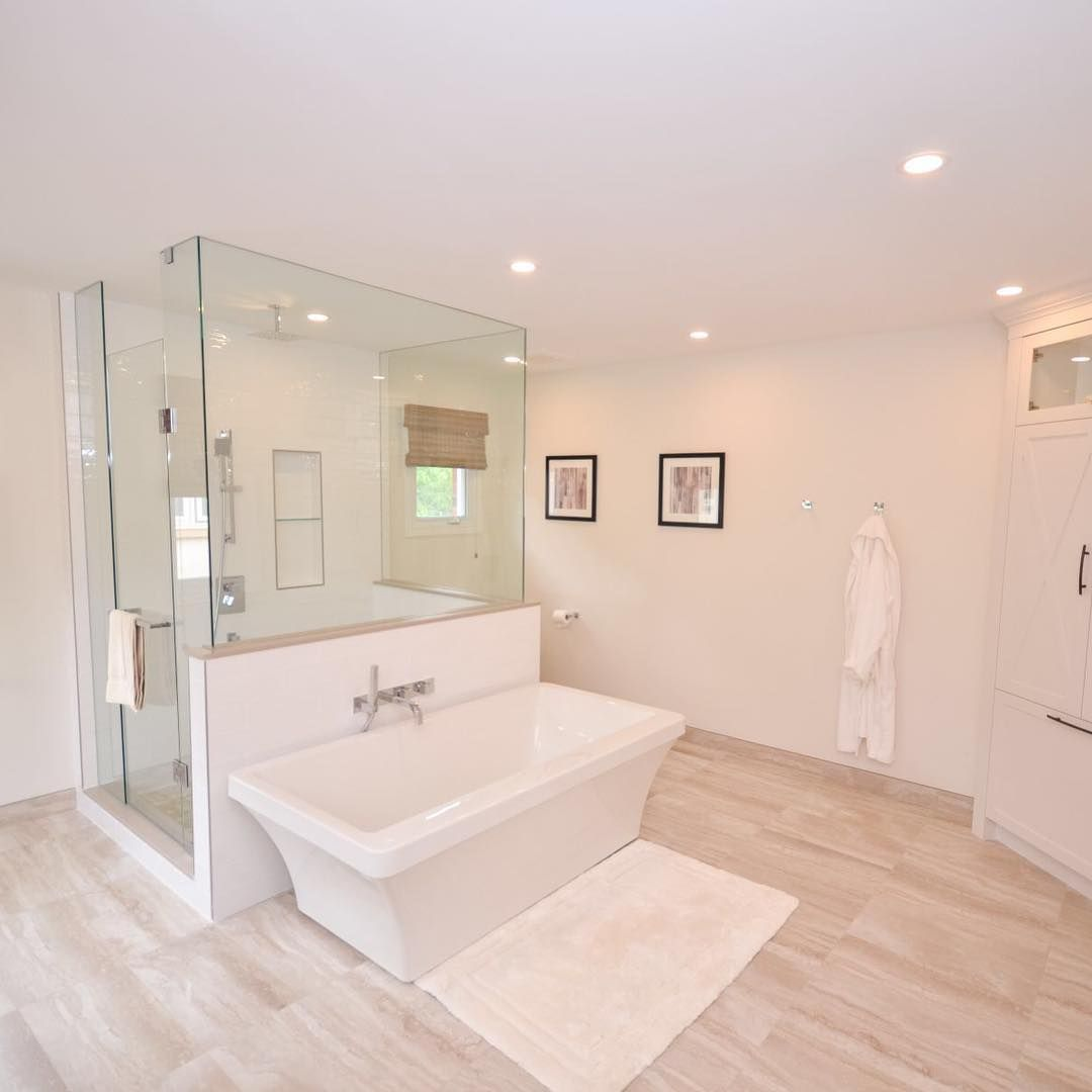 Luxury Bathroom Renovation With Free Standing Tub And Large Walk