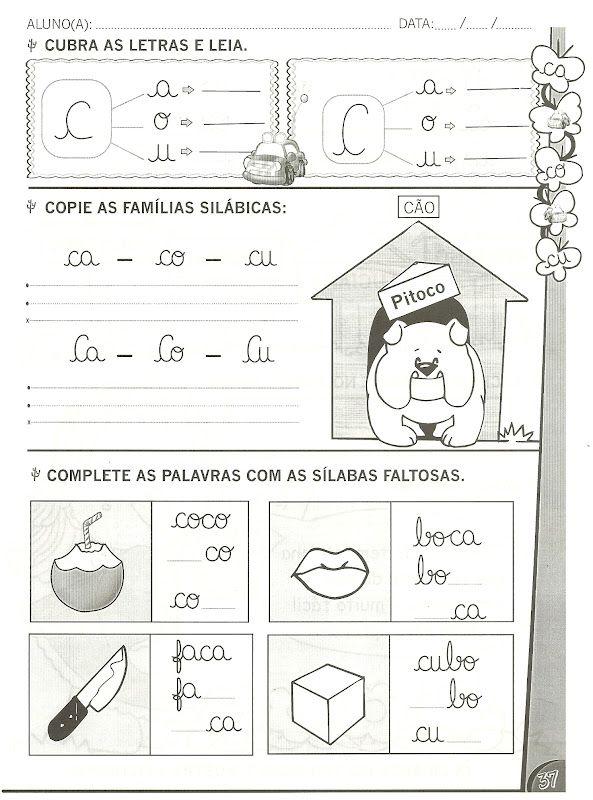 Atividades De Alfabetizacao Com As Letras B C D E F
