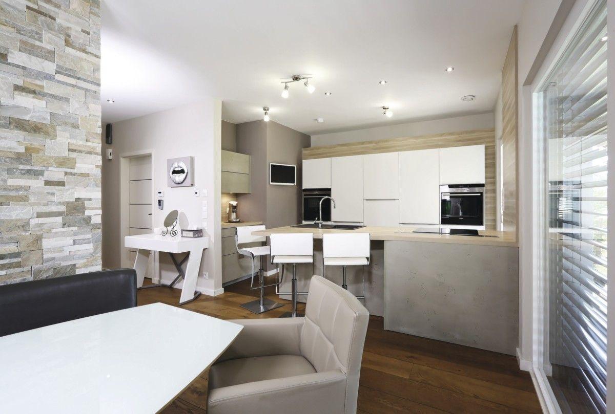 Offene Wohnküche mit Tresen - Inneneinrichtung Ideen WeberHaus ...