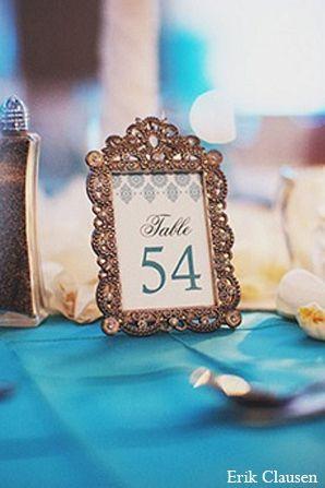 indian wedding reception decor tablecard http://maharaniweddings.com/gallery/photo/9222