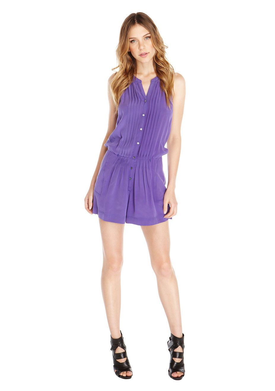 Pebble Crepe Romper | Women\'s Designer Clothes | Nicole Miller ...