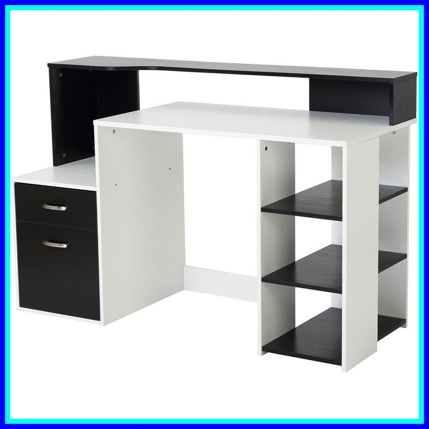 79 Reference Of Modern Black Desk With Drawers In 2020 Wooden Computer Desks Bookcase Storage Desk With Drawers