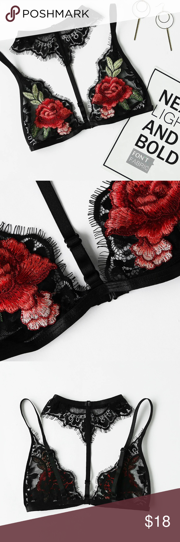 1338aae4398d5 EMBROIDERED ROSE PATCH LACE CHOKER BRALETTE Style  Sexy Type  Bras Details   Embroidery Details