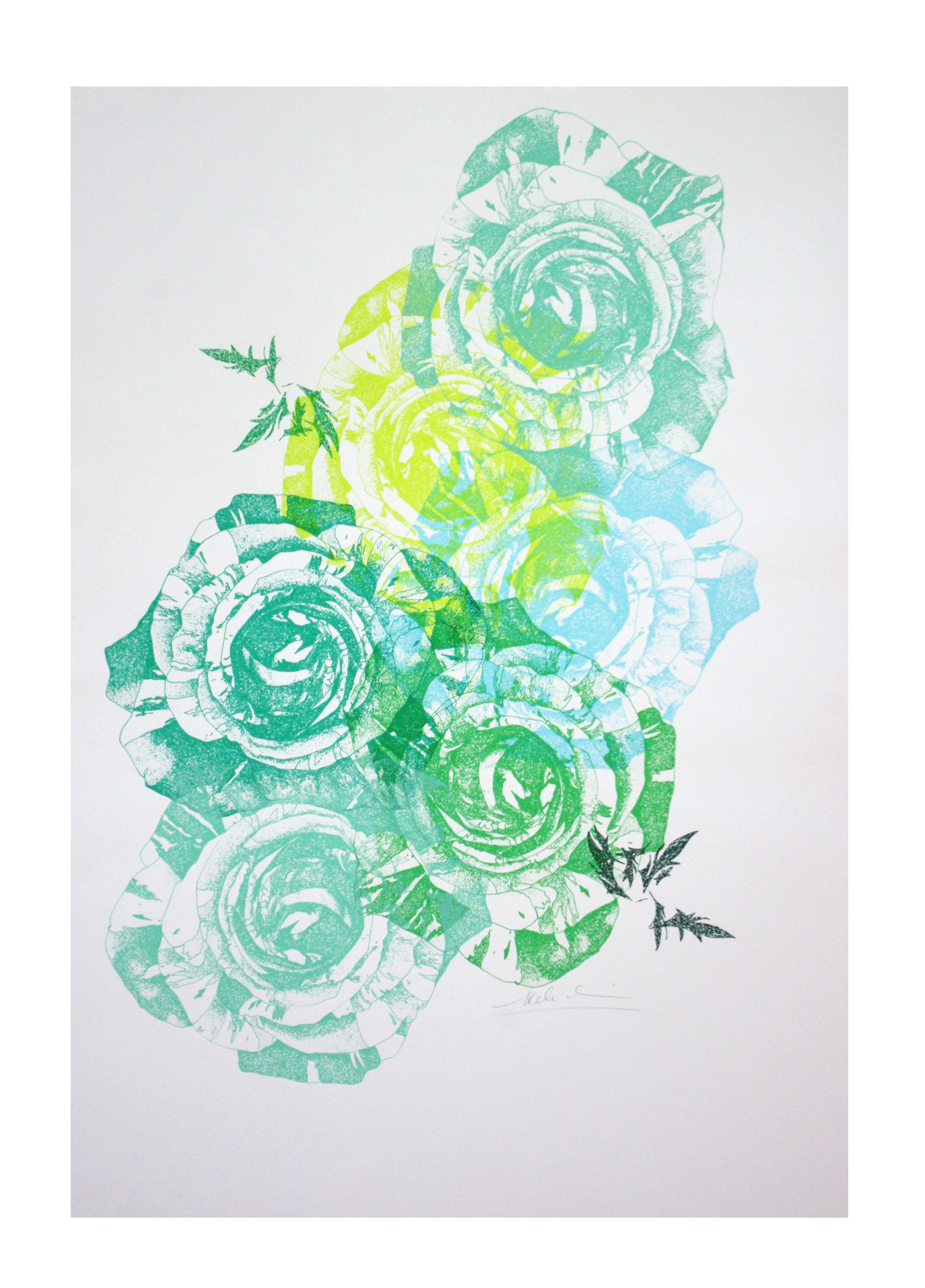 Multi Print In Several Colours Of Hand Drawn Screen Print