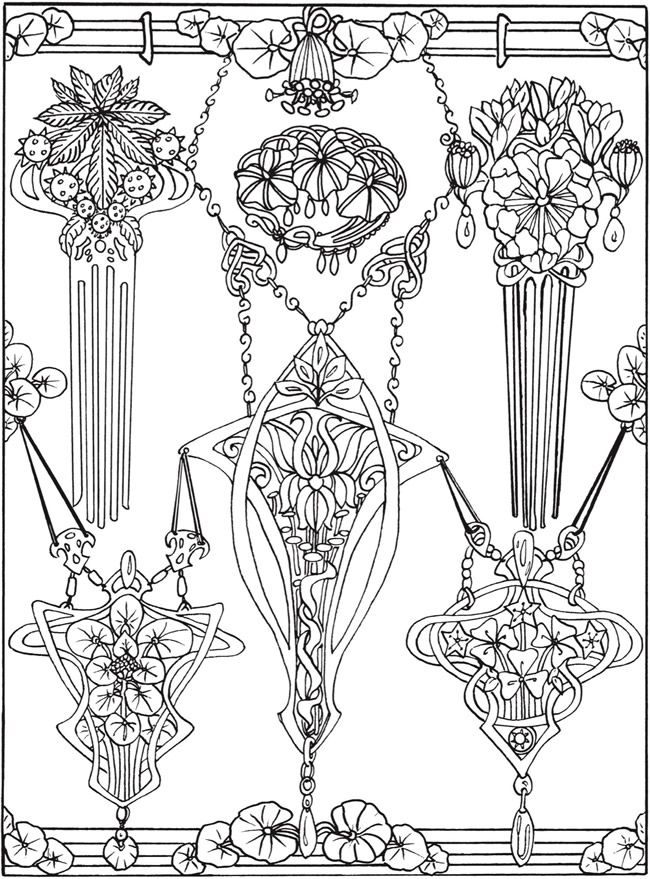 Creative Haven Art Nouveau Jewelry Designs Coloring Book Dover