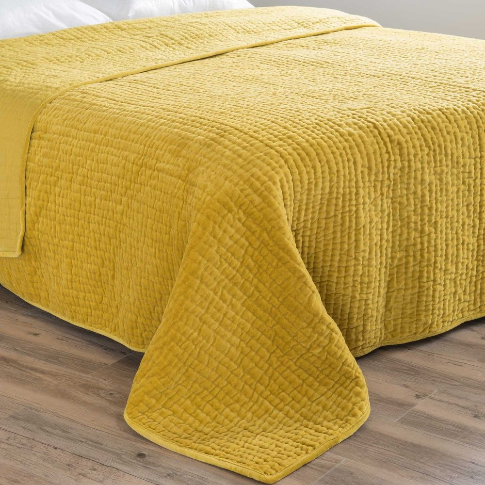 Velvet Quilted Bedspread In Mustard Yellow 240 X 260cm In 2018