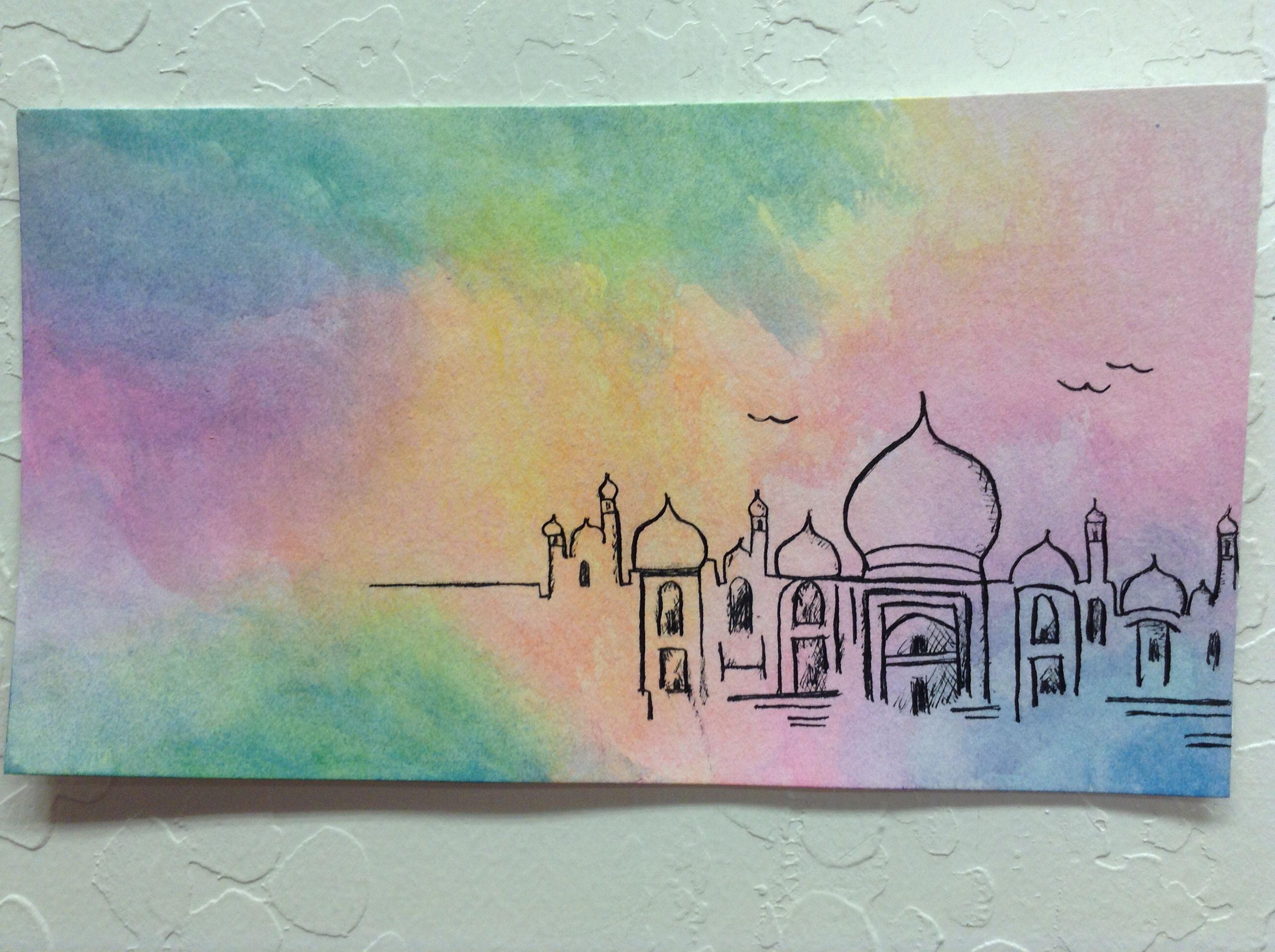 Taj Mahal Water Color And Pen Taj Mahal Drawing Mosque Art